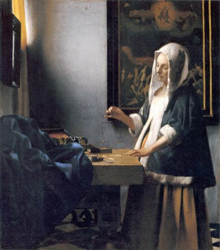 "Johannes Vermeer, ""Woman Holding a Balance"",  around 1665"