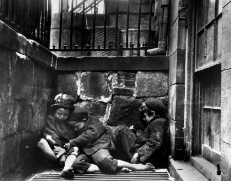 By Jacob Riis, 1890, children on Mulberry Street (may be under copyright)